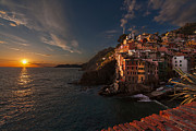 Italian Sunset Posters - Riomaggiore Peaceful Sunset Poster by Mike Reid
