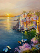 Village By The Sea Painting Framed Prints - Riomaggiore Framed Print by Roman Romanov