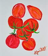 Tomatos Painting Metal Prints - Ripe on the vine Metal Print by Stefanie Nellett