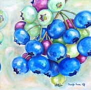 Blueberry Paintings - Ripening Blueberry bunch by Jennifer Kwon