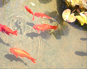 Koi Digital Art - Ripple in the Pond by Jeanne A Martin