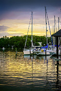 Docked Sailboats Posters - Ripples at Sunset Poster by Brian Wallace