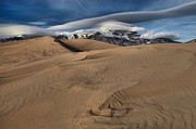 Colorado Sand Dunes Posters - Ripples Dunes And Clouds Poster by Adam Jewell