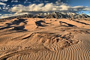 Colorado National Parks Prints - Ripples Dunes And Snowcaps Print by Adam Jewell