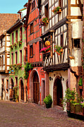 Flower Boxes Framed Prints - Riquewihr Framed Print by Brian Jannsen