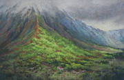 Ahu Pastels Originals - Rising from Maunawili by Candace D Fenander