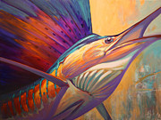 Flyfishing Painting Prints - Rising Son - Contemporary Sailfish Painting Print by Mike Savlen
