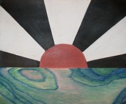 Sunsets Drawings Posters - Rising Sun Poster by Christopher Carney