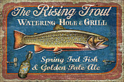 Man Cave Painting Framed Prints - Rising Trout Sign Framed Print by JQ Licensing