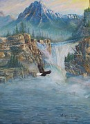 Eagle Cliff Paintings - Rising Up With Eagles Wings by Kathleen Luther