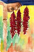 Johanna Axelrod Prints - Ristras at Taos B and B Print by Johanna Axelrod