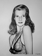 Movie Icon Drawings Posters - Rita Hayworth Poster by Geni Gorani