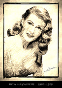 Award Drawings Prints - Rita Hayworth Print by George Rossidis