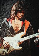 Gibson Digital Art Digital Art Prints - Ritchie Blackmore Print by Taylan Soyturk