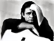 Country Art Drawings Prints - Rite of Truth  Jonny Cash Print by Iconic Images Art Gallery David Pucciarelli