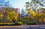 Phila Digital Art Posters - Rittenhouse Square in the Spring Poster by Bill Cannon