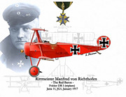 Fighter Aces Acrylic Prints - Rittmeister Manfred von Richthofen Acrylic Print by A Hermann