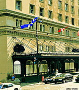 Montreal Street Life Paintings - Ritz Carlton Hotel In Spring Corner Sherbrooke Street Downtown Montreal City Scene Artwork By Carole by Carole Spandau