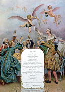 Champagne Drawings Metal Prints - Ritz Restaurant Menu Metal Print by Maurice Leloir
