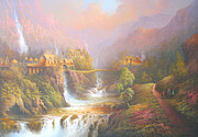 Grey Painting Prints - Rivendell A Hobbits Tale. The Red Book Print by Joe  Gilronan