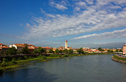 Old City Tower Posters - River Adige Panoramic View in Verona Poster by Kiril Stanchev