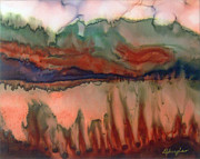 Fiber Art Paintings - River Aflame by Deborah Younglao