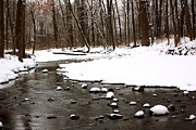 Winter Landscapes Photos - River and Snow by Amanda Kiplinger