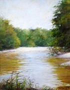 Rivers Prints - River And Trees Print by Nancy Stutes