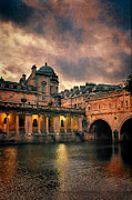 Pulteney Bridge Framed Prints - River Avon at Dusk Framed Print by Jill Battaglia