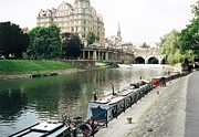 Pulteney Bridge Framed Prints - River Avon in Bath England Framed Print by Marilyn Wilson