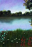 Peaceful Scene Pastels Posters - River Bank Poster by Anastasiya Malakhova