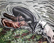 Wild Boar Paintings - River Bank Barr by Monica Turner