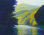 Canoe Pastels Posters - River Bend Poster by Ed Chesnovitch