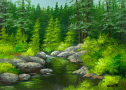 Serenity Landscapes Paintings - River  Bend  by Shasta Eone
