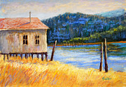 Tropical House Pastels Prints - River Boat House Print by Arlene Baller
