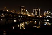 Downtown Photos - River City Lights at Night by Tim Wilson