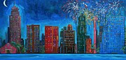 Fireworks Paintings - River City Skyline by Patti Schermerhorn