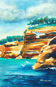 Seagull Mixed Media Metal Prints - River Cliffs 2 Metal Print by Kathy Braud
