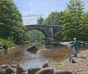 Bridge Painting Originals - River Dart Fly Fisherman by Richard Harpum