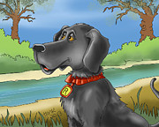 Black Lab Digital Art Framed Prints - River Dog Framed Print by Hank Nunes
