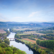 Aquitaine Framed Prints - River Dordogne from Domme Aquitaine France Framed Print by Colin and Linda McKie