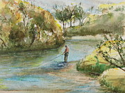 Wade Fishing Metal Prints - River Fishing Metal Print by David Camacho