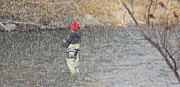 River Fishing In The Snow Print by Brent Dolliver