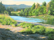 River Paintings - River Forks Morning by Karen Ilari