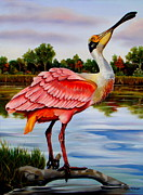 Spoonbill Paintings - River Gem by Phyllis Beiser