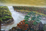 Landscap Painting Originals - River Going West To East by Raymond Sellers