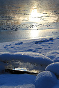 Reflections In Water Metal Prints - River Ice Metal Print by Hanne Lore Koehler