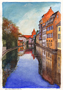 Mirror Paintings - River Ill Strasbourg France by Dai Wynn