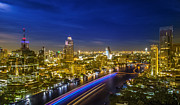 Bangkok Photos - River in Bangkok city in night time  by Anek Suwannaphoom