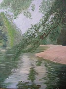 Champagne Paintings - River in Champagne region by Dominique Hannaux